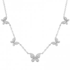 14K White Gold (5) Butterfly Diamond Necklace