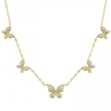 14K Yellow Gold (5) Butterfly Diamond Necklace