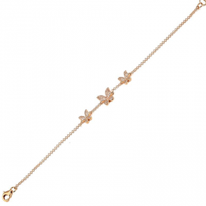 14K Rose Gold Diamond Triple Butterfly Bracelet