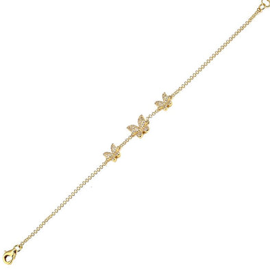 14K Yellow Gold Diamond Triple Butterfly Bracelet