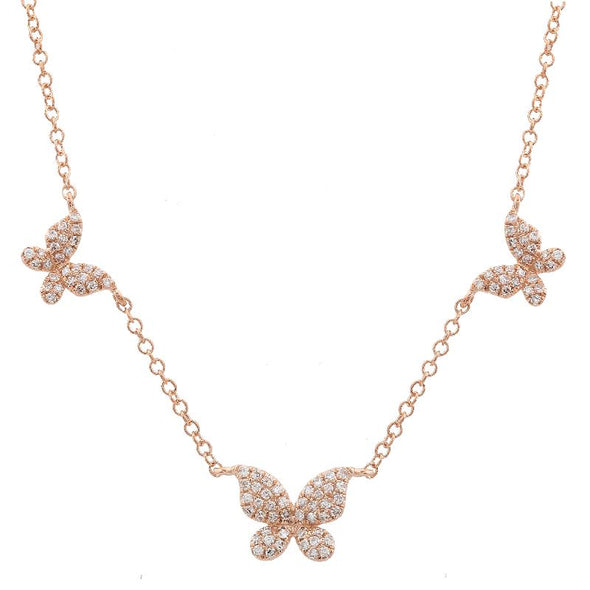 14K Rose Gold Triple Butterfly Diamond Necklace