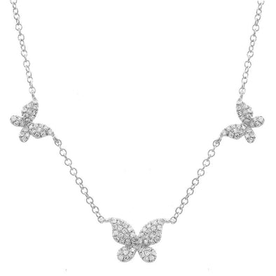 14K White Gold Triple Butterfly Diamond Necklace