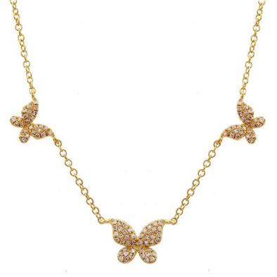 14k Yellow Gold Butterfly Diamond Necklace