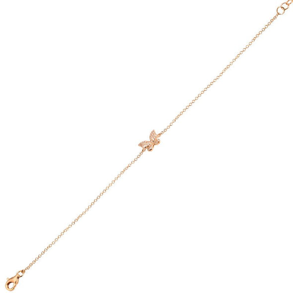 14K Rose Gold Diamond Butterfly Bracelet