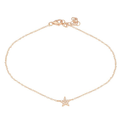 14k Rose Gold Star Diamond Anklet