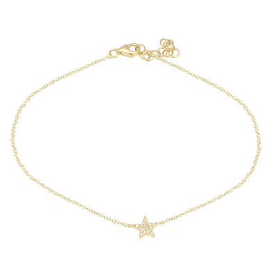 14k Yellow Gold Star Diamond Anklet