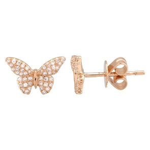 14K Rose Gold Butterfly Diamond Earrings