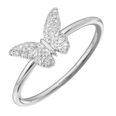 14K White Gold Diamond Butterfly Ring