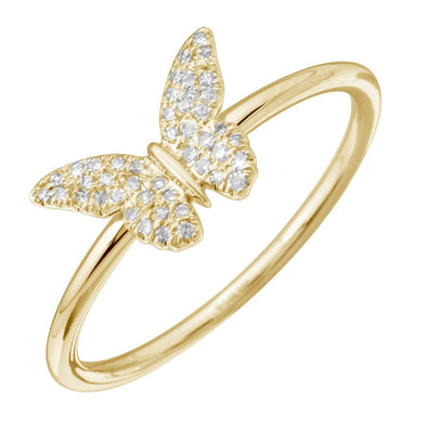 14K Yellow Gold Diamond Butterfly Ring
