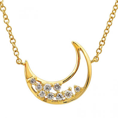 14K Yellow Gold Diamond Open Moon Necklace