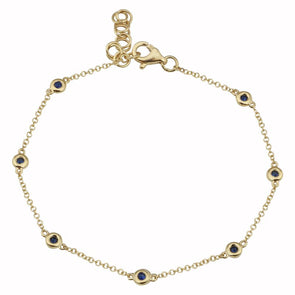 14k Yellow Gold Sapphire Gemstone Diamond by the Yard Bracelet