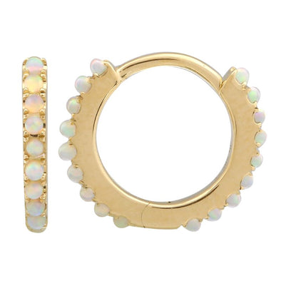 14k Yellow Gold Opal Eternity Huggie Earrings