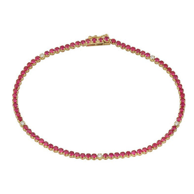 14k Yellow Gold Diamond & Ruby Gemstone Tennis Bracelet