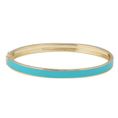 14k Yellow Gold Turqouise Enamel & Diamond Double Sided Bangle Bracelet