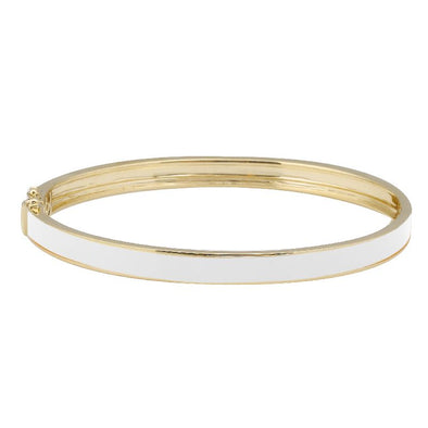 14k Yellow Gold White Enamel & Diamond Double Sided Bangle Bracelet