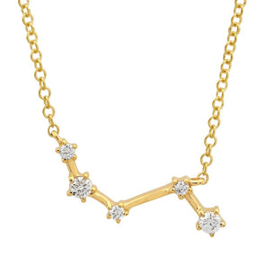 14k Yellow Gold Diamond Constellation Necklace: Aries
