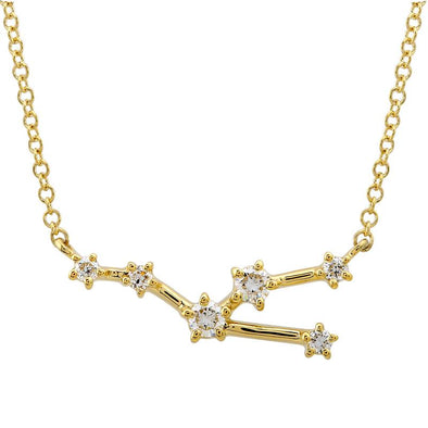 14k Yellow Gold Diamond Constellation Necklace: Taurus