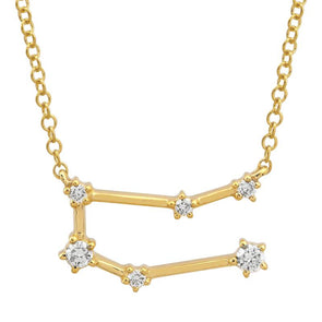 14k Yellow Gold Diamond Constellation Necklace: Gemini