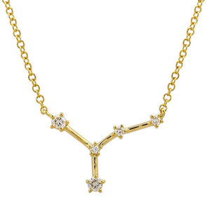 14k Yellow Gold Diamond Constellation Necklace: Cancer