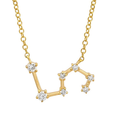 14k Yellow Gold Diamond Constellation Necklace: Leo