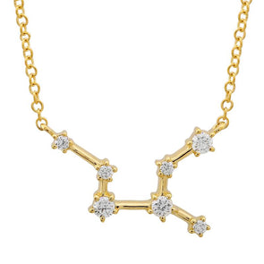 14k Yellow Gold Diamond Constellation Necklace: Virgo