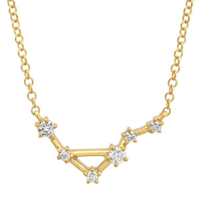 14k Yellow Gold Diamond Constellation Necklace: Libra