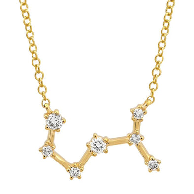 14k Yellow Gold Diamond Constellation Necklace: Scorpio