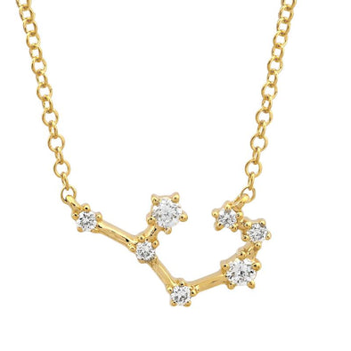 14k Yellow Gold Diamond Constellation Necklace: Sagittarius