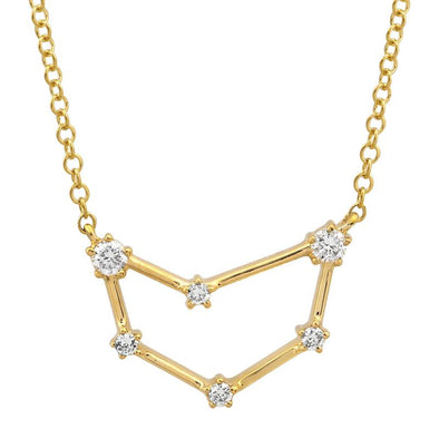 14k Yellow Gold Diamond Constellation Necklace: Capricorn