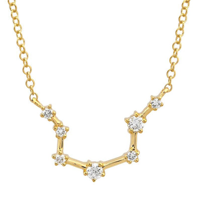 14k Yellow Gold Diamond Constellation Necklace: Aquarius