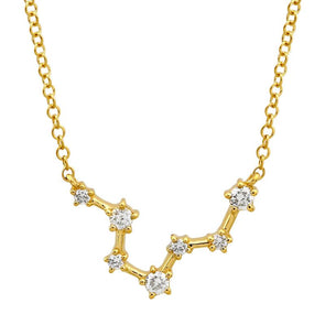 14k Yellow Gold Diamond Constellation Necklace: Pisces