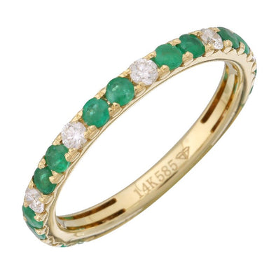 Yellow 14K Diamond & Emerald Band