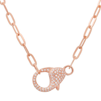 14K Rose Gold Diamond Lobster Clasp Chain