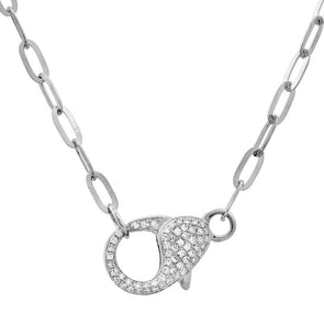 14K White Gold Diamond Lobster Clasp Chain