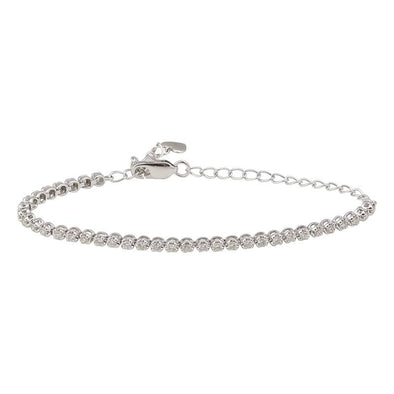 14K White Gold Diamond Tennis Adjustable Bracelet