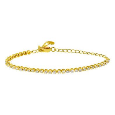 14K Yellow Gold Diamond Tennis Adjustable Bracelet