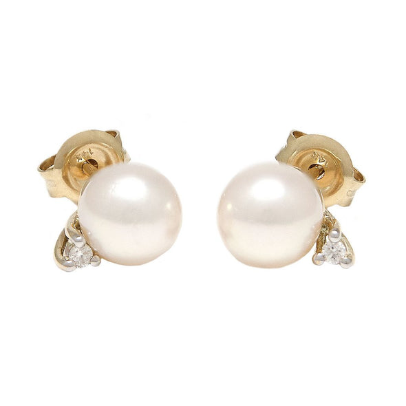 14k Yellow 0.03ct Diamond & Pearl 6mm Earrings