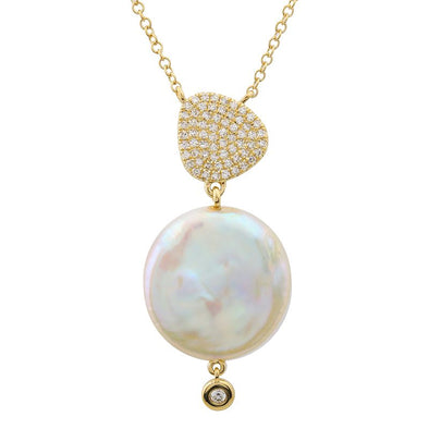14k Yellow Gold Coin Pearl Diamond Necklace