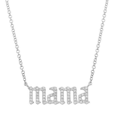 14K White Diamond Gothic Font Mama Necklace