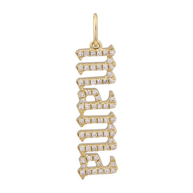 14K Yellow Diamond Gothic Font Mama Necklace