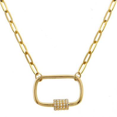 14K Yellow Diamond Carabiner Link Chain Necklace