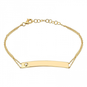 14K Yellow Gold Diamond Bar Bracelet