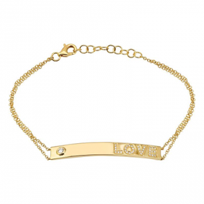 14K Yellow Gold Love Diamond Bar Bracelet