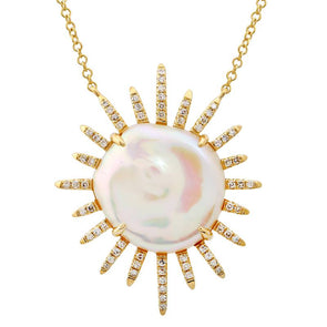 14k Yellow Gold Coin Pearl Sun Necklace