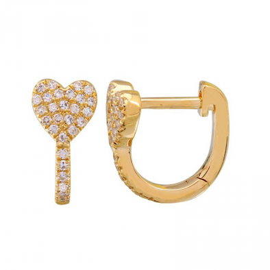 14k Yellow Gold Diamond Heart Huggie Earrings