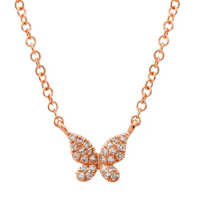 14k Rose Gold Diamond Single Butterfly Necklace
