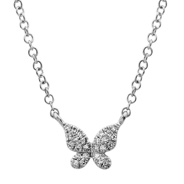14k White Gold Diamond Single Butterfly Necklace