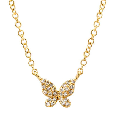 14k Yellow Gold Diamond Single Butterfly Necklace