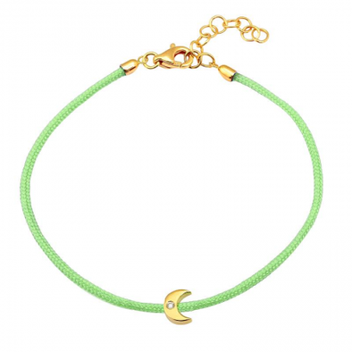 14K Yellow Gold Moon Diamond Cord Bracelet