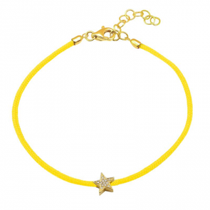 14K Yellow Gold Pave Star Diamon Cord Bracelet